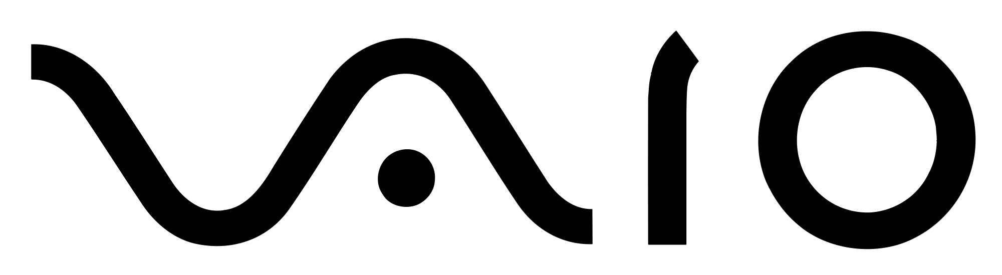Einkennismerki Sony Vaio fartölvanna samanstendur af rafmagnsbylgju og tölustöfunum 1 og 0, til að merkja stafræna miðlun.