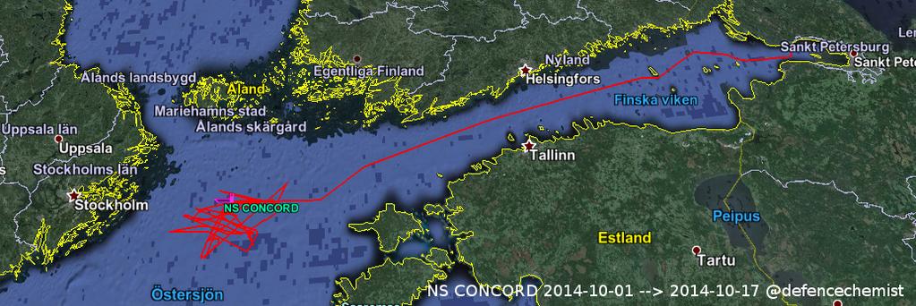 Siglingaleið NS Concord frá Sankti Pétursborg og hringeggjan á Eystrasalti um helgina.