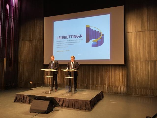 Bjarni Benediktsson og Sigmundur Davíð Gunnlaugsson kynna útfærslu og umfang leiðréttingarinnar í nóvember 2014.