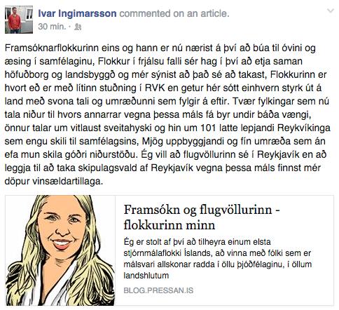 Stöðuuppfærsla Ívars Ingimarssonar á Facebook.