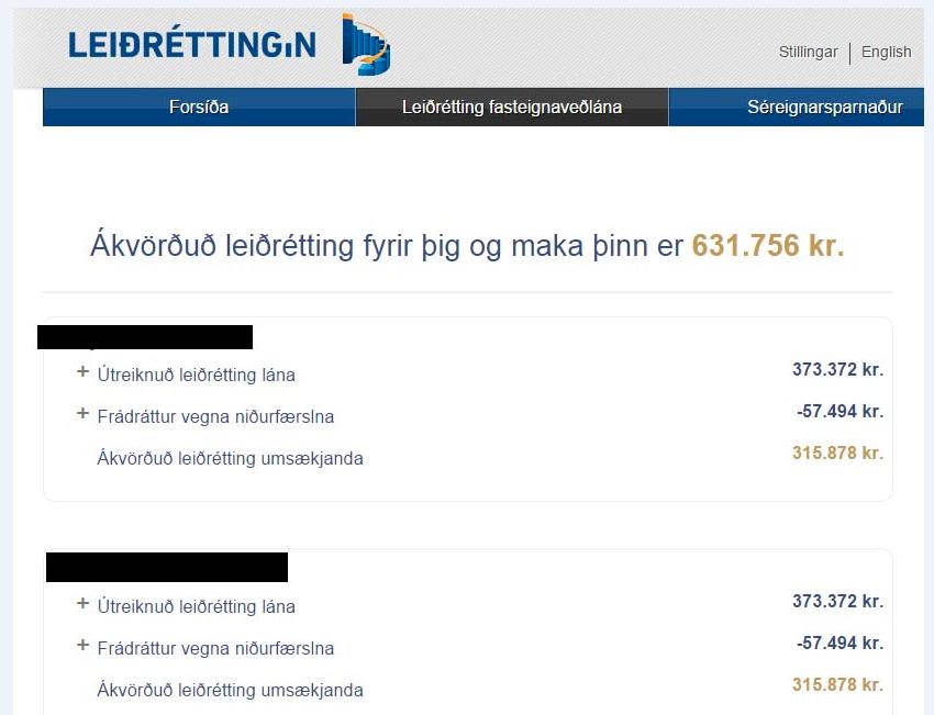 Á myndinni sést niðurstaða leiðréttingarumsóknar hjónanna.