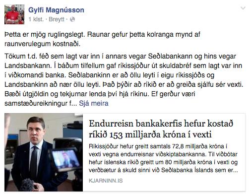 Stöðuuppfærsla Gylfa Magnússonar á Facebook.