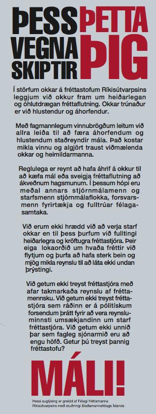 Auglýsing frá Félagi fréttamanna hjá RÚV, sem Blaðamannafélag Íslands studdi.