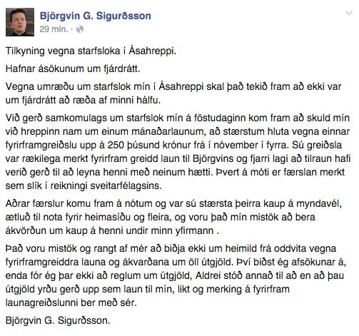 Stöðufærslan sem Björgvin G. birti á Facebook í morgun.