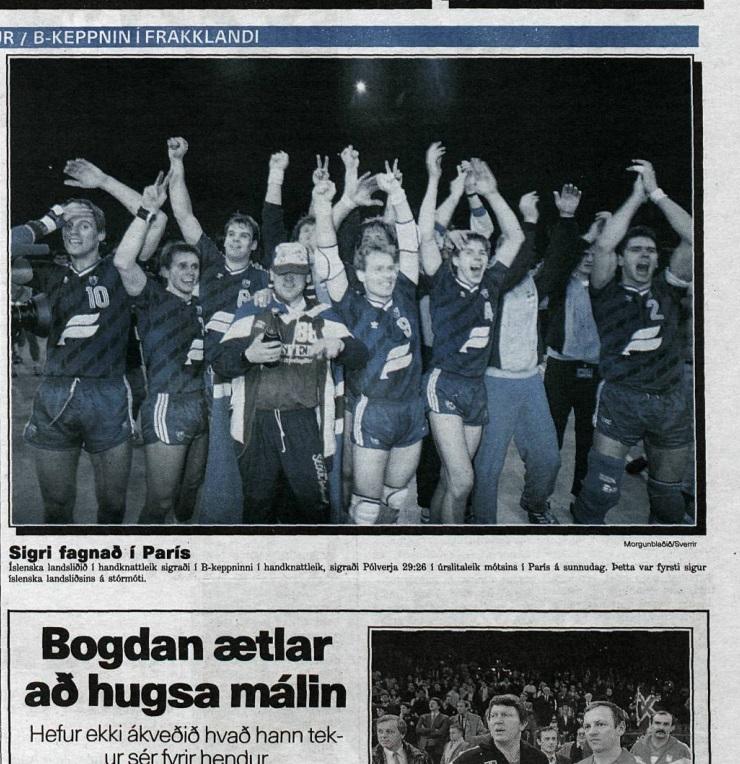 Ísland vann B-keppnina í Frakklandi 1989. Svona leit forsíða íþróttablaðs Morgunblaðsins út daginn eftir.