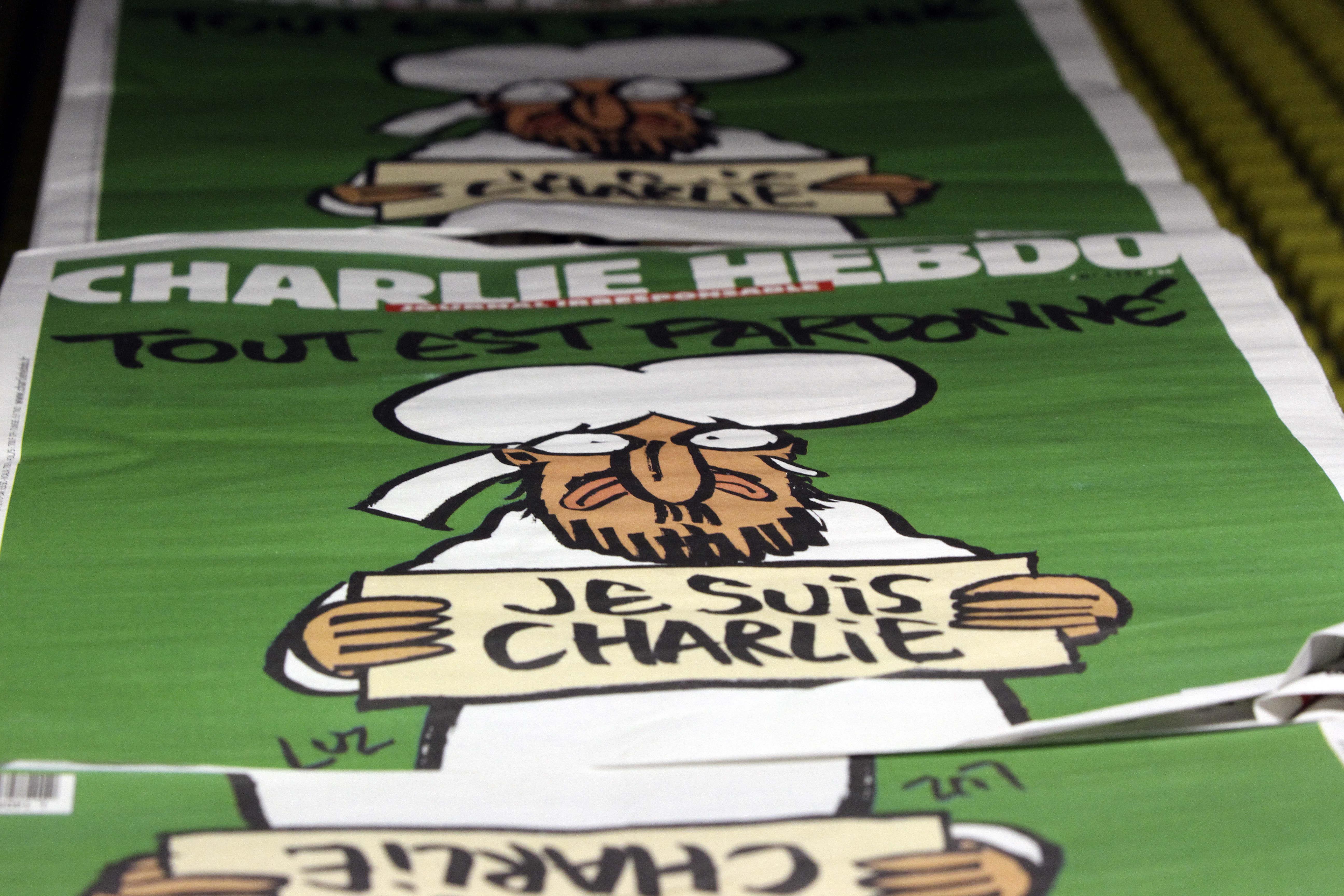 Múhameð á forsíðu Charlie Hebdo.