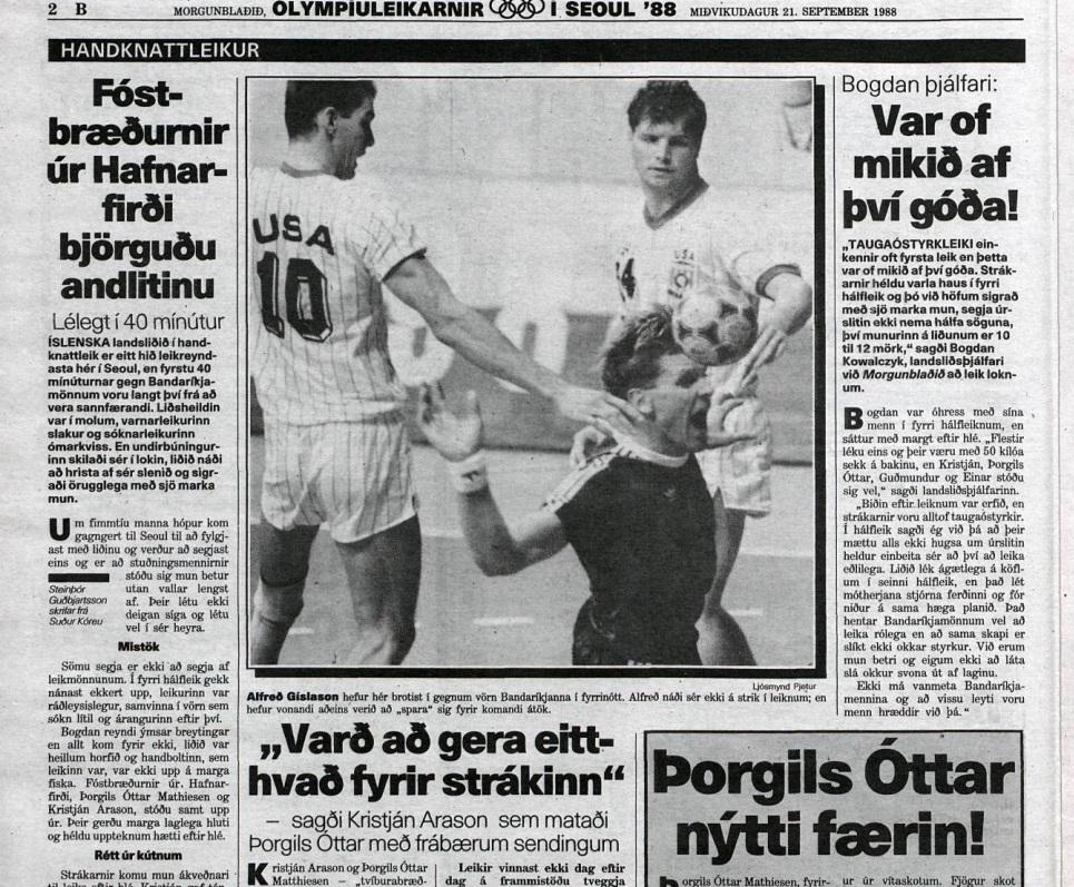 Umfjöllun úr Morgunblaðinu um handboltalandsliðið sem lék í Seoul 1988.