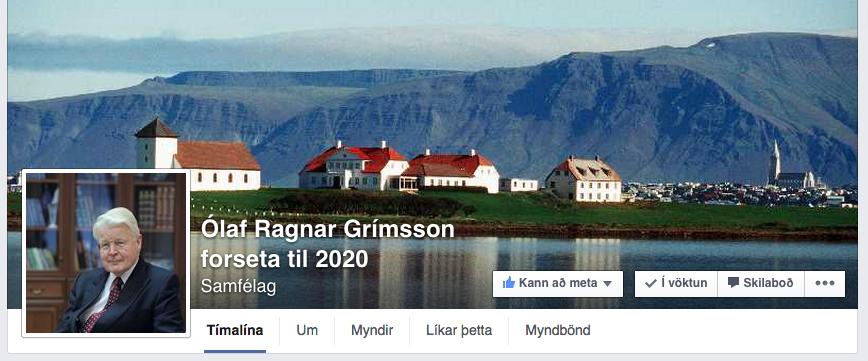 Hausinn á Facebook-síðunni þar sem Ólafur Ragnar er hvattur til að bjóða sig aftur fram.