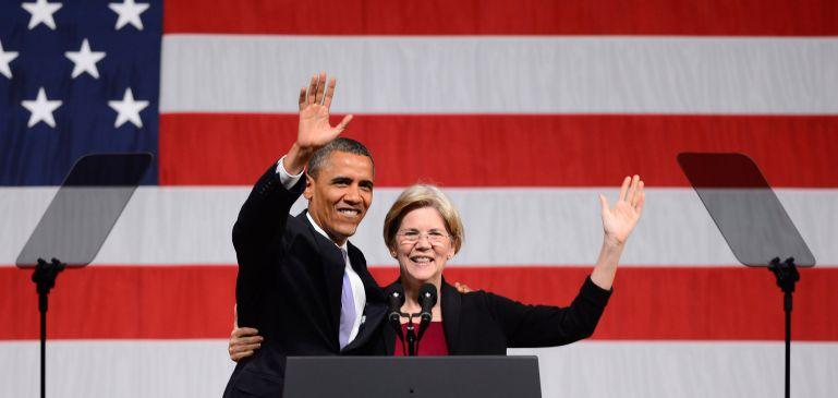 Barack Obama Bandaríkjaforseti og Elizabeth Warren.