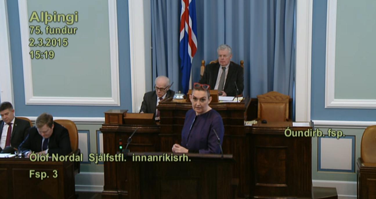 Ólafar bíður vandasamt verk. Mynd: Skjáskot/Althingi.