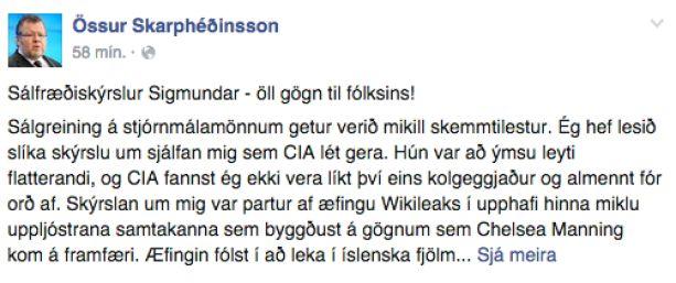 Stöðuuppfærslan sem Össur Skarphéðinsson birti á Facebook í dag.