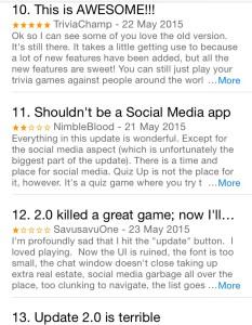 Viðbrögð notenda QuizUp í App Store.