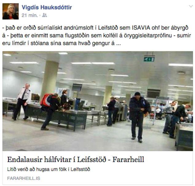 Færsla Vigdísar Hauksdóttur á Facebook í kvöld.