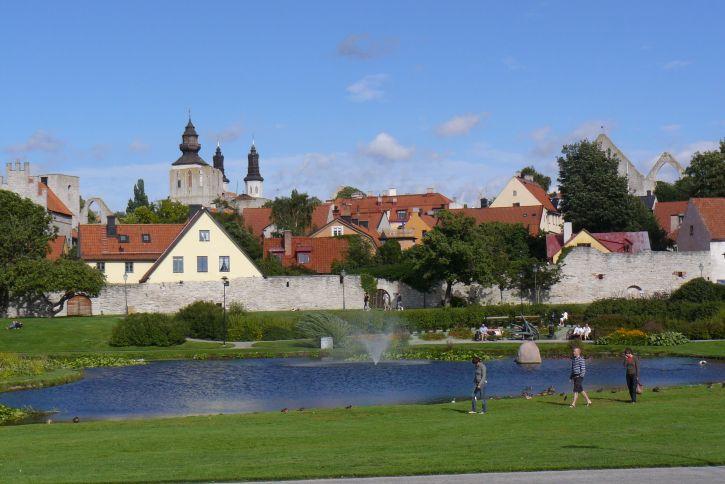 Bærinn Visby á Gotlandi.