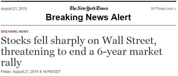 The New York Times sendi frá sér þetta fréttaskot á póstlista sinn þegar markaðir lokuðu í gær. Mynd: Skjáskot, The New York Times.