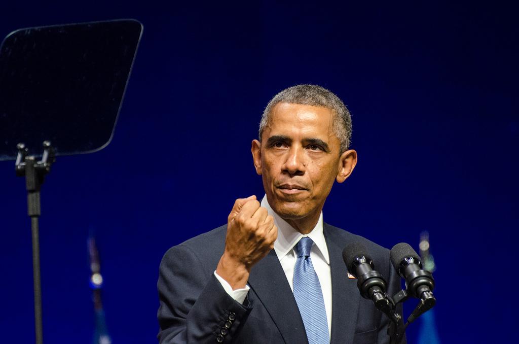 Barack Obama  í Eistlandi nokkrum dögum fyrir leiðtogafund NATO í Wales haustið 2014. MYND: